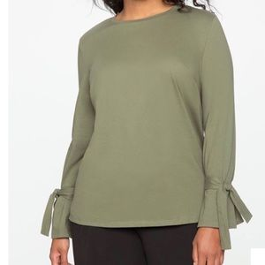 NWT Eloquii olive green tie sleeve t-shirt top